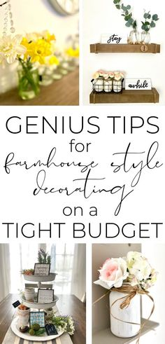 How to Decorate Your House on a Tight Budget {Farmhouse Style!} Are you trying to decorate your house in farmhouse style but you're on a tight Diy Home Decor Projects, Home Decor Items, Decor Ideas, Craft Ideas, Farmhouse Style Decorating, Farmhouse Decor, Farmhouse Budget, Tight Budget, Diy On A Budget
