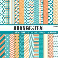 Papeles digitales naranja y turquesa Orange and por eltendedero
