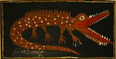 'Alligator' by Southern self-taught artist & blues musician Jimmy Lee Sudduth (1910-2007). via CWMc on flickr