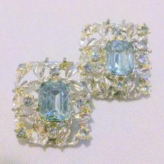 Vintage Baby Blue Silver Tone Rhinestone Earrings by BorrowedTimes