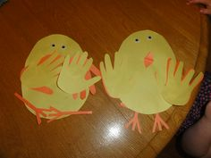 Super easy easter craft for 1 3 and 7 year olds no elmers for our easter chicks with handprint feathers made by my two year old niece and one made by my 3 year old daughter negle Choice Image