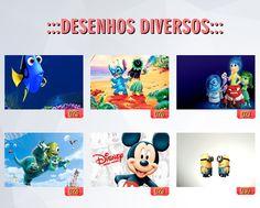 posters e cadernos de desenhos animados: Procurando Dory, Mickey, Minions Monstros,
