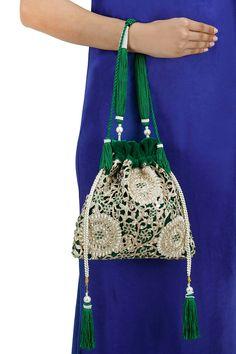 Green embroidered drawstring potli bag BY 5 ELEMENTS. Diy Fashion, Fashion Bags, Salwar Kameez, Embroidery Purse, Drawing Bag, 5 Elements, Potli Bags, Lesage, Indian Fabric