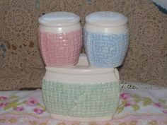 Vintage Basket Weave Napkin Holder and Salt an Pepper Shakers /New listing NOT Included in Coupon Discount Sale S by Daysgonebytreasures on Etsy