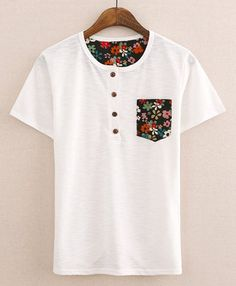 $8.89 Casual Style Round Neck Buttons Embellished Tiny Floral Pocket Short Sleeves Cotton T-shirt For Men