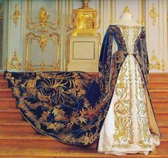 court dress worn by Grand Duchess Xenia Alexandrovna Romanova of Russia in 1894 - Displayed at the Catherine Palace.