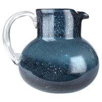 Iris pitcher in cobalt blue
