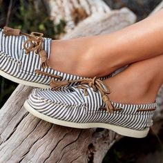 Striped Sperrys - I love these.