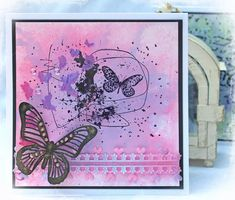 Scraps of Darkness and Scraps of Elegance: mixed media and scrapbooking products from all your favorite manufacturers.  Patricia Basson created this beautiful pink and purple card with Alazarin Crimson and Violet Brusho Crystal Colours. Find these colors and more at Scraps of Darkness: www.scrapsofdarkness.com