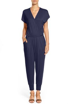 Loveappella Short Sleeve Wrap Top Jumpsuit (Regular