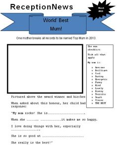 Mother's Day newspaper - Use this template to create a fun Mother's Day newspaper article.
