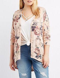 Plus Size Floral Hacci Cardigan