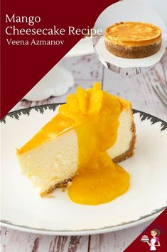 This rich, smooth and creamy baked mango cheesecake is a classic mango dessert perfect for summer. Made with fresh mango puree #mango #cheesecake #dessert #summer Mango Desserts, Mango Recipes, Beef Recipes, Cooking Recipes, Mango Cheesecake, Cheesecake Recipes, Dessert Recipes, Family Meals, Family Recipes