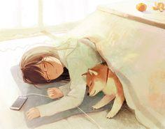 Anime / Manga Sleeping Cozzy Comfy Kotatsu Place Home Shiba Inu Dog Best Friend