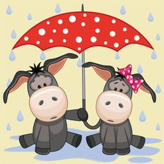 Cute animals and umbrella cartoon vector 10