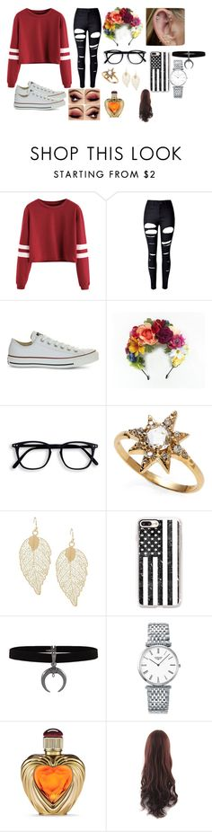 """""""Shes different"""" by lolblingqueen ❤ liked on Polyvore featuring WithChic, Converse, Anzie, Casetify, Longines, Victoria's Secret and sweaterweather"""