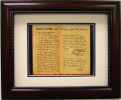 Framed Print - William B Travis Letter...I'm getting this for the house