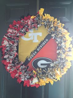 "House Divided Wreath DIY   8.5""x4""  18"" wreath 3-4 yards total"