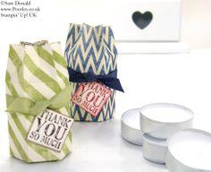 POOTLES Stampin' Up! UK Hexagon Tea Light Box Tutorial 2.   :))  Gift Box 19 Tea Lights Driections done.  :)