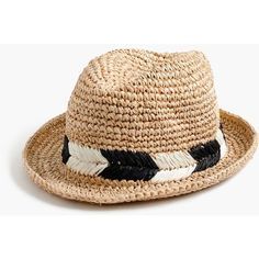 J.Crew Straw Fedora Hat With Chevron Band ( 66) ❤ liked on Polyvore 3e005e08fe5a
