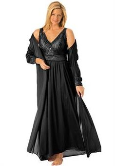 9b6d013aa58 Plus Size Long tricot peignoir set Plus Size Nighties