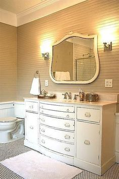Someday I'm going to refinish/funkify an old dresser and re-purpose it as a bathroom vanity.