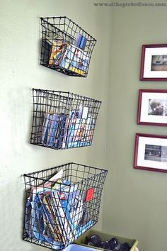 At The Picket Fence: Organizing Lego Instructions, wall storage, wall baskets, organizing Legos