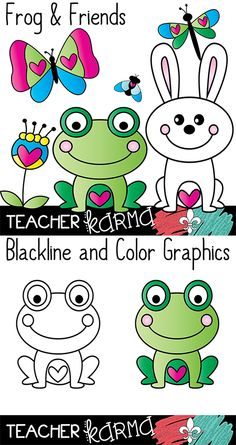 Frog & Friends SPRING clipart and frames.  Perfect for classroom teachers, TpT sellers, and scrapbooking.  Commercial use OK.  TeacherKarma.com