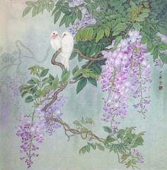 Zhou Zhongyao (Chinese: - Wisteria and Birds Chinese Painting, Chinese Art, Fabric Painting, Painting & Drawing, Japan Painting, Art Japonais, Wisteria, Asian Art, Japanese Art
