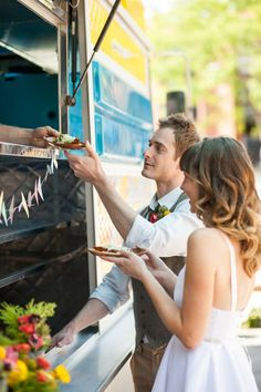 food truck outside as guests are leaving-Lizzie did this and it was so cute http://www.food-trucks-for-sale.com