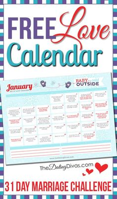 This is so cool!  A 31 day marriage challenge with a little love assignment every day.  It even has links to date ideas and romance tips.  www.TheDatingDivas.com #marriage #love