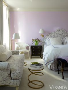 Pink bedroom in a Manhattan apartment by designer Rob Southern