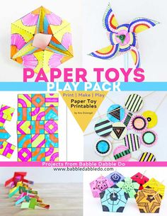 Paper Toys Play Pack – Babble Dabble Do Toddler Arts And Crafts, Crafts For Kids To Make, Kids Diy, Kids Crafts, Duck Crafts, Babble Dabble Do, Fabric Crafts, Paper Crafts, Foam Crafts