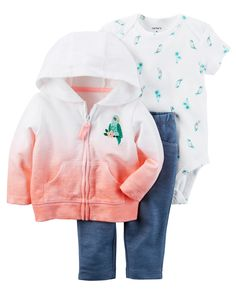 Baby Girl 3-Piece Little Jacket Set Designed for all-day play, dressing is easy with this ready-to-wear matching set. Featuring a zip-up French terry jacket, this 3-piece set is complete with a coordinating cotton bodysuit and pants.