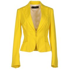 Dsquared2 Blazer ($280) ❤ liked on Polyvore featuring outerwear, jackets, blazers, blazer, yellow, long sleeve jacket, dsquared2, yellow blazer, yellow jacket and long sleeve blazer