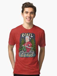 'Funny Ugly Christmas Sweater Santa Claus Motorcycle Rebel' Tri-blend T-Shirt by emkayhess Funny Christmas Cards, Christmas Humor, Christmas Fun, Ugly Sweater Party, Ugly Christmas Sweater, Holiday Puns, Xmas Shirts, Xmas Holidays, Mistletoe