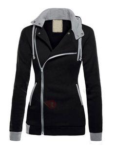 7daaba34ab3345  Sweat-shirt Hoodie Femme à Zipper à Capuche avec Cordon
