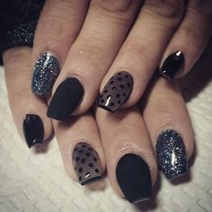 Nails by Lauren ballerina shaped nails or coffin shaped nails with matte and glitter and Swarovski crystals also a stocking like polka dot nail