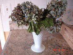 dried hydrangea and milk glass