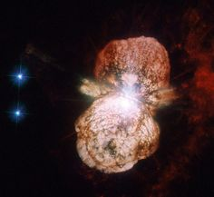 Preview of a Forthcoming Supernova -   NASA's Hubble Telescope captured an image of Eta Carinae. This image consists of ultraviolet and visible light images from the High Resolution Channel of Hubble's Advanced Camera for Surveys. The field of view is approximately 30 arcseconds across.