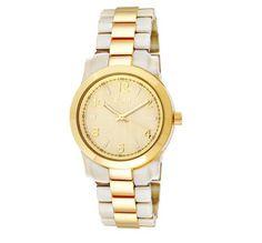 Relógio Euro, folheado a ouro, com pedras translúcidas em acrílico. Ref: EU2035BU/4B