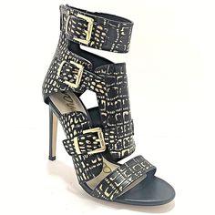 3f1b7a8d8fe Sam Edelman Gladiators Black Gold Zippers Size 9 Stilettos Heels Leather EU  39.5