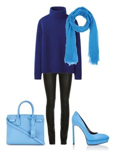 This blue is a bright blue and looks great on a winter. I kept this look simple with deep blues and black. I had some fun with having the accessories in the bright blue.  You could add in more color with fuchsia or pale pink. eep winter can handle the rich colors.  Have fun and wear what you lov
