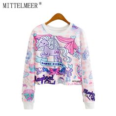 MITTELMEER New bts Harajuku printed Sweatshirt o neck crop top Cartoon unicorn printing short Sweatshirt tops for women-in Hoodies & Sweatshirts from Women's Clothing & Accessories on Aliexpress.com | Alibaba Group