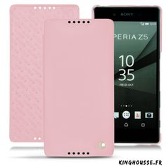Housse cuir Rose pour Sony Xperia Z5 - Etui portefeuille Noreve. #Leather #SonyXperia #Z5 #Noreve