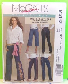 "McCall's Pattern M5142 Misses' Palmer Pletsch Classic Fit ""The Perfect Jean"" Size CCD 10-12-14-16"