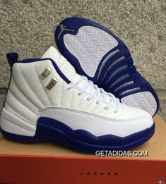 210fd22078fc26 Nike Airjordan 12 White Navy Blue Women Shoes TopDeals