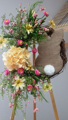 Easter Burlap bunny grapevine floral wreath, Easter bunny wreath, Floral Easter wreath, Grapevine wreath, Easter door decor, Spring wreath This adorable burlap bunny with his little cotton tail, is the sweetest thing you will see this Easter. This is a one of a kind wreath, there