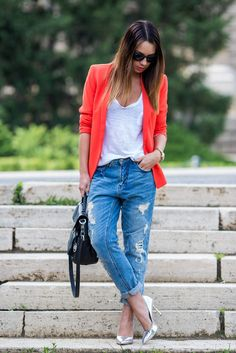 bright blazer + white tank + ripped boyfriend jeans