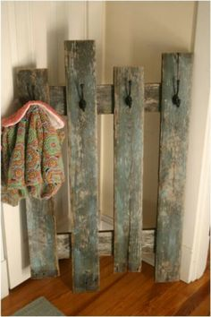 Perfect coat hooks that can be used in the laundry room. Can get old gate from Porter Barnwood.